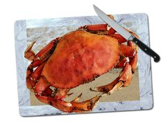 Crab Large Tempered Glass Cutting Board