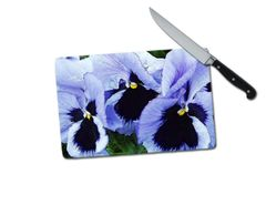 Pansy Small Tempered Glass Cutting Board