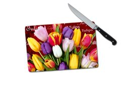 Tulip Words Small Tempered Glass Cutting Board