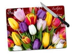 Tulip Words Large Tempered Glass Cutting Board