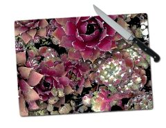 Succulents Large Tempered Glass Cutting Board