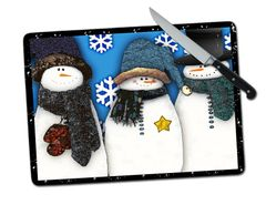 Snowman Large Tempered Glass Cutting Board
