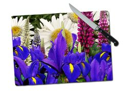 Iris Lupine Daisy Large Tempered Glass Cutting Board