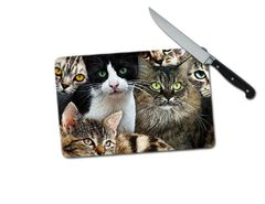 Cats Kittens Small Tempered Glass Cutting Board