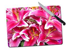 Lily Large Tempered Glass Cutting Board