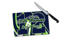 Seahawks 12th Woman Small Tempered Glass Cutting Board