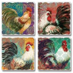 Fancy Pants Roosters Absorbent Coaster Set
