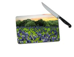 Bluebonnets Small Tempered Glass Cutting Board