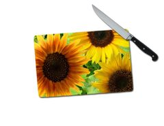 Sunflower Small Tempered Glass Cutting Board