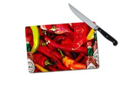 Peppers Small Tempered Glass Cutting Board