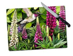 Lupine Hummingbird Large Tempered Glass Cutting Board