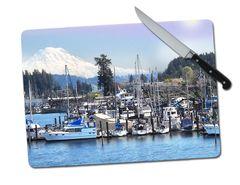 Gig Harbor Washington Large Tempered Glass Cutting Board