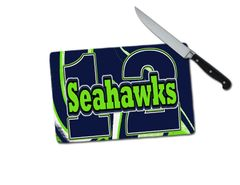 Seahawks 12 Small Tempered Glass Cutting Board