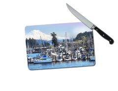 Gig Harbor Washington Small Tempered Glass Cutting Board