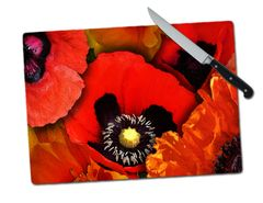 Poppy Large Tempered Glass Cutting Board