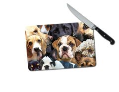 Dogs Small Tempered Glass Cutting Board