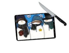 Snowman Small Tempered Glass Cutting Board