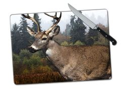 Deer Large Tempered Glass Cutting Board