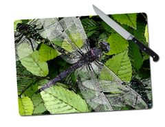 Dragonfly Large Tempered Glass Cutting Board