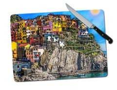 Manarola Italy Hillside Large Tempered Glass Cutting Board