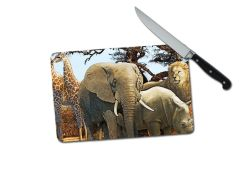 Safari Animals Elephant Giraffe Rhino Lion Small Tempered Glass Cutting Board
