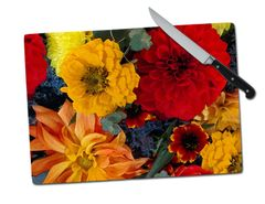 Dahlias Mums Large Tempered Glass Cutting Board