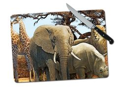 Safari Animals Elephant Giraffe Rhino Lion Large Tempered Glass Cutting Board