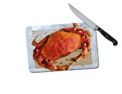Crab Small Tempered Glass Cutting Board