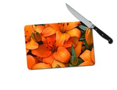 Lillies Small Tempered Glass Cutting Board