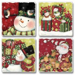 Simple Gifts Snowman Santa Absorbent Coaster Set