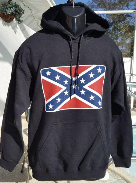 Confederate Flag Black Pullover Hooded Sweatshirt Dl