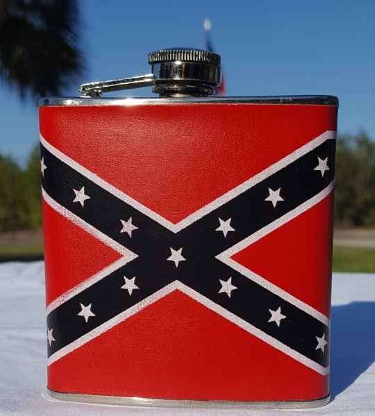 Rebel Flag Leather Covered Stainless 6 Oz Hip Flask Dl