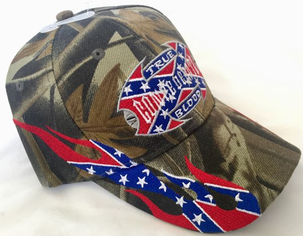 Camo True Confederate Blood Embroidered Baseball Cap Dl