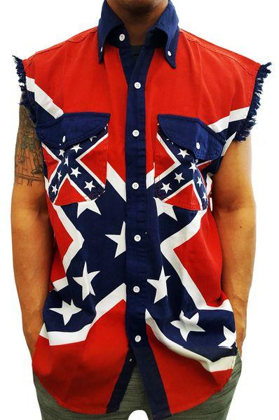 Confederate Flag Sleeveless Button Up Shirt Dl Grandeurs