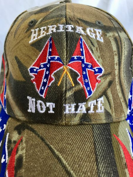 Camouflage Quot Heritage Not Hate Quot Rebel Flames Hat Dl