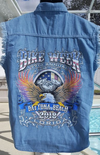 f195492ac1 Daytona Bike Week 2018 Sleeveless Denim Biker Shirt