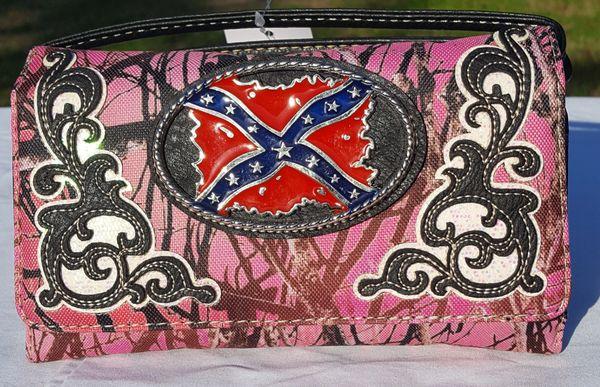 Rebel Flag Pink Camo Clutch Crossbody Purse Dl Grandeurs