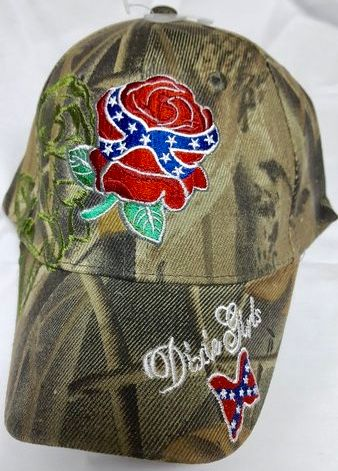 Embroidered Camo Dixie Girl With Rose Hat Dl Grandeurs