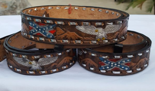 Rebel Flags Amp Eagles Leather Belt Dl Grandeurs