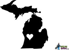 Michigan Decal with Heart - Color Options