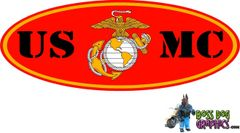 Printed Ford Emblem Overlay Decal fits 99-04 Ford FSeries USMC United States Marine Corps