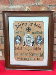 Original German Great War soldier glass framed remembrance picture for a soldier killed at the front who won the Iron Cross,who fought from 1914-1918 with his photograph