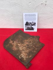 Blown section of front shield with paintwork from German 3.7cm PAK 36 anti tank gun recovered from Priekule in the Kurland pocket defended by the SS Nordland Division during the battle 1944-1945