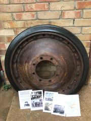 Wheel with original sand colour paintwork,fantastic condition from German Panther Tank of the 116th Panzer Division recovered from near Houffalize in the Ardennes Forest from 1944-1945 winter battle