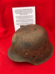 German 9th Army Luftwaffe soldiers M42 single decal helmet+lot of paintwork recovered from a Lake South of Berlin in the area the 9th Army fought,surrendered in April 1945 during the battle of Berlin