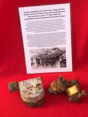 German 8cm Mortar range site parts,relic condition recovered from a large pit used by soldiers of the 5th Panzer Army who surrendered to the Americans on the 17th April 1945 near Langenfeld south of Dusseldorf in the Ruhr Pocket