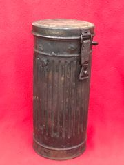 German paratrooper soldiers gas mask tin nice condition relic recovered from Fallschirmjager fox holes on Hill 129 the battle of St Lo on the Normandy battlefield of 1944