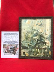 Glass framed colour painting riding on a tank celebrating liberation in Town done by a French Resistance fighter who done many pictures and paintings of the fighting in 1944 and German occupation in the years before