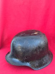 German soldiers M42 helmet nice solid relic original black paint work with some over paint ,restored very well cleaned recovered from Monte Cassino Italian battlefield of 1944 from a local museum which closed down in 2015