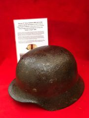 German 9th Army soldiers M40 red cross medical with leather liner,helmet recovered from a Lake South of Berlin in the area the 9th Army fought,surrendered in April 1945 during the battle of Berlin